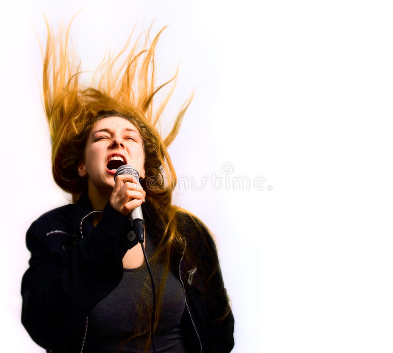 Singer woman with hair in motion isolated on white