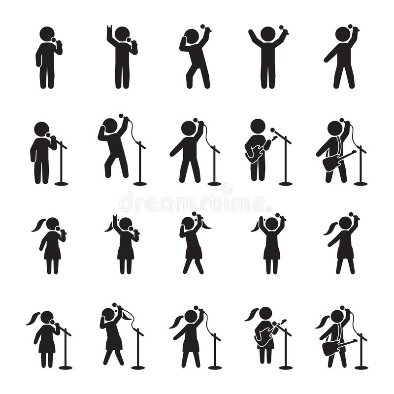 Singers icon set. People icon set of music performers. Vector. stock illustration