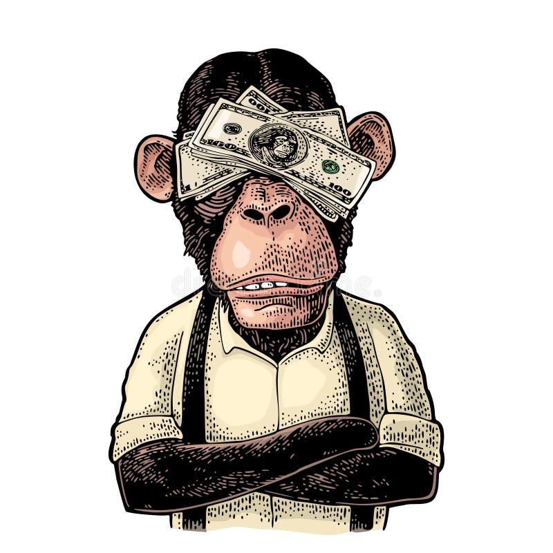 Singes avec l'argent sur des yeux Gravure de vintage illustration libre de droits