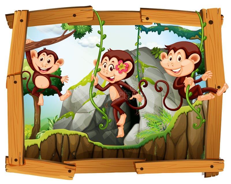 Singes et caverne dans le cadre en bois illustration de vecteur
