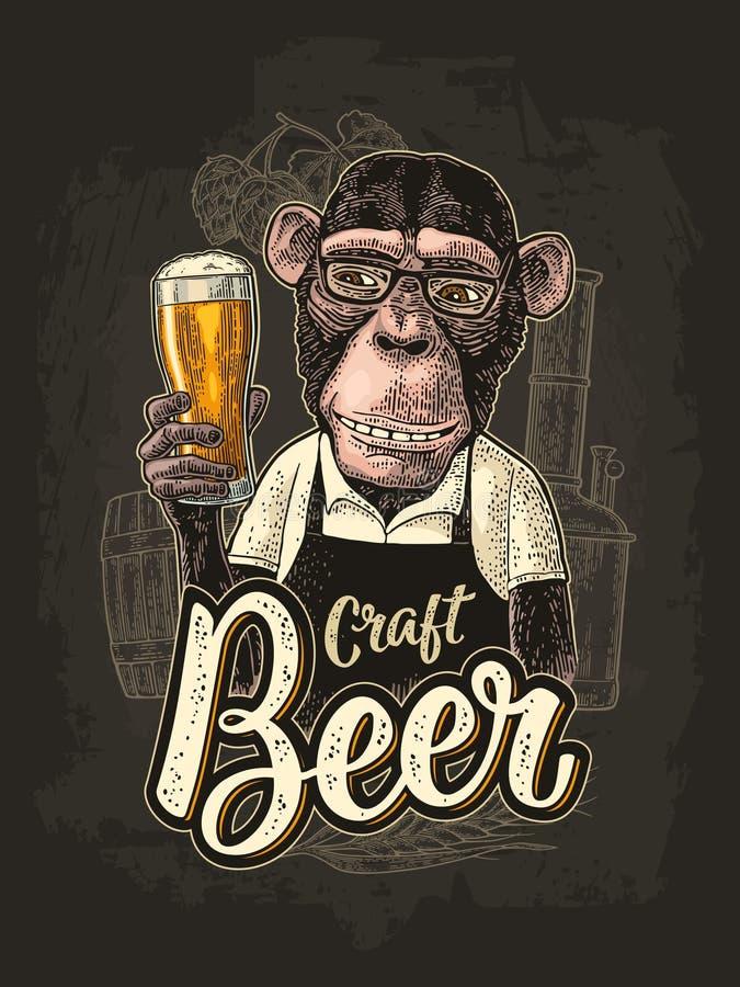 Singes habillés dans le tablier tenant la bière en verre Gravure de couleur de vintage illustration stock