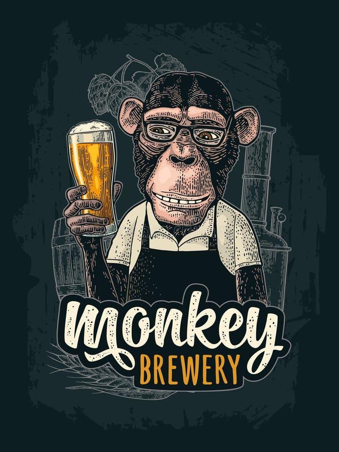 Singes habillés dans le tablier tenant la bière en verre Gravure de couleur de vintage illustration libre de droits