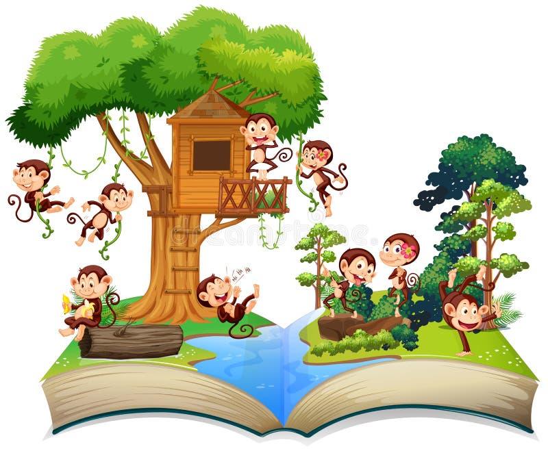 Singes jouant à la cabane dans un arbre illustration stock