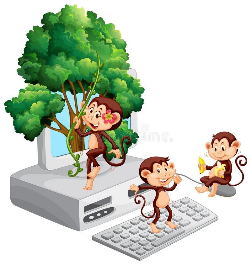 Singes jouant et mangeant sur l'écran d'ordinateur illustration stock