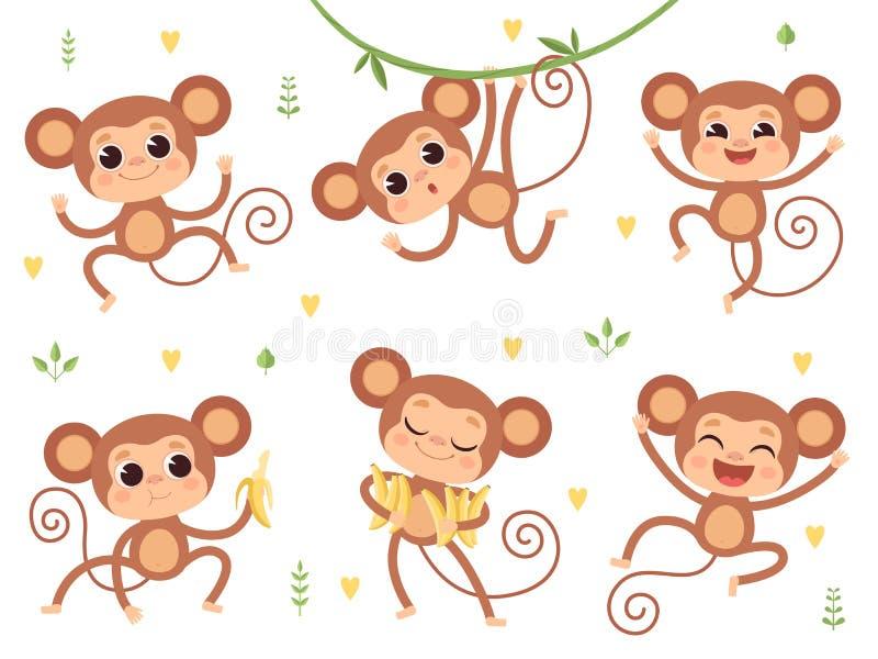 Singes mignons Singes de bébé d'animaux sauvages de jungle petits jouant des caractères de vecteur dans des poses d'action illustration libre de droits