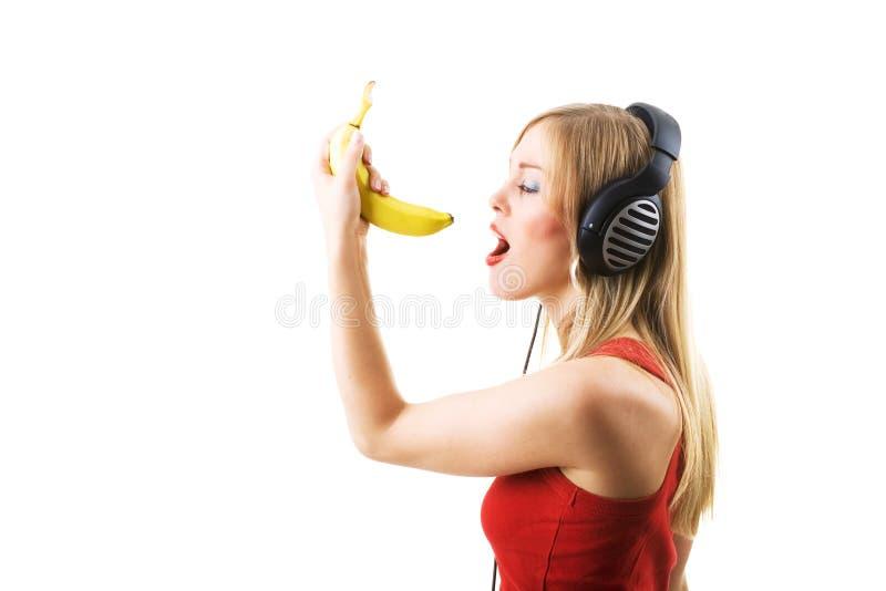Singing the banana stock image