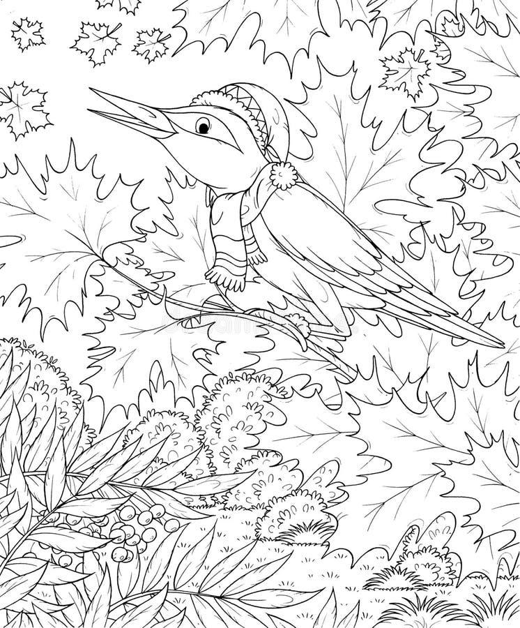 Singing bird in an autumn forest stock illustration