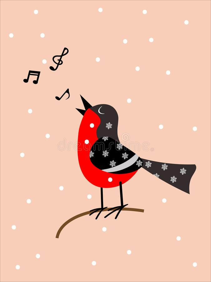 Singing bird on a pink background stock illustration
