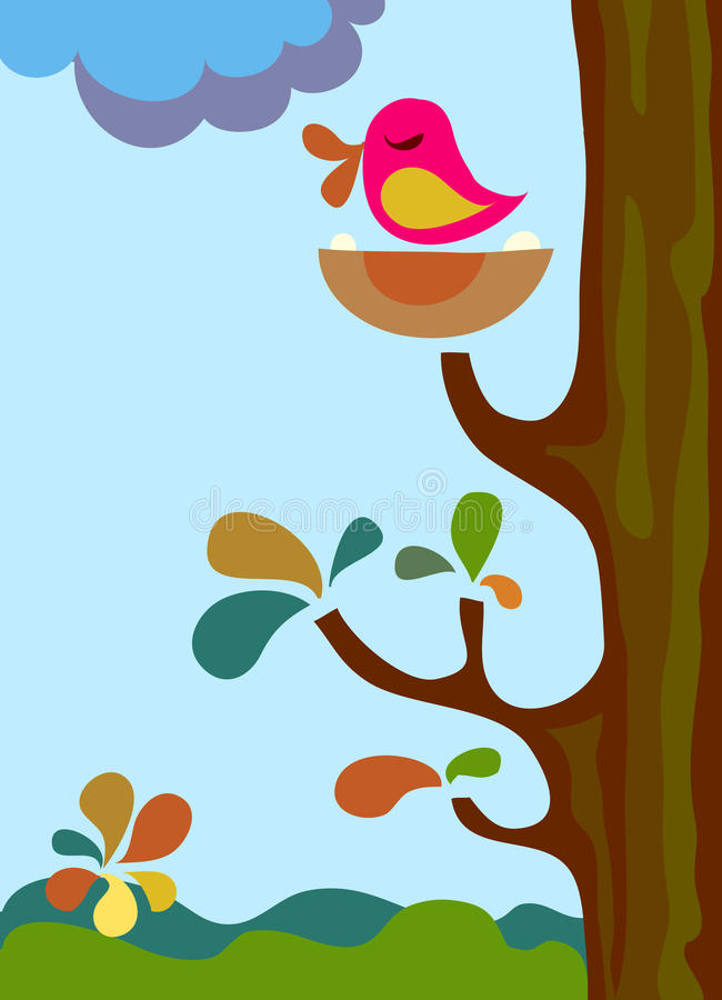 Download Singing bird on a tree stock vector. Image of outside - 14559560