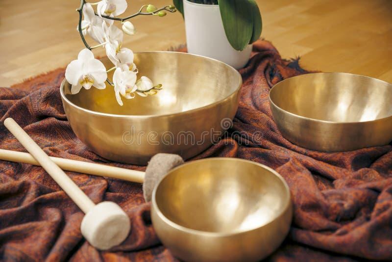 Singing bowls stock photography