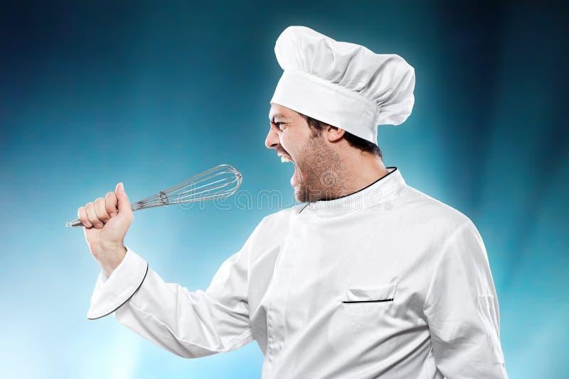 Singing chef. Against blue background stock image