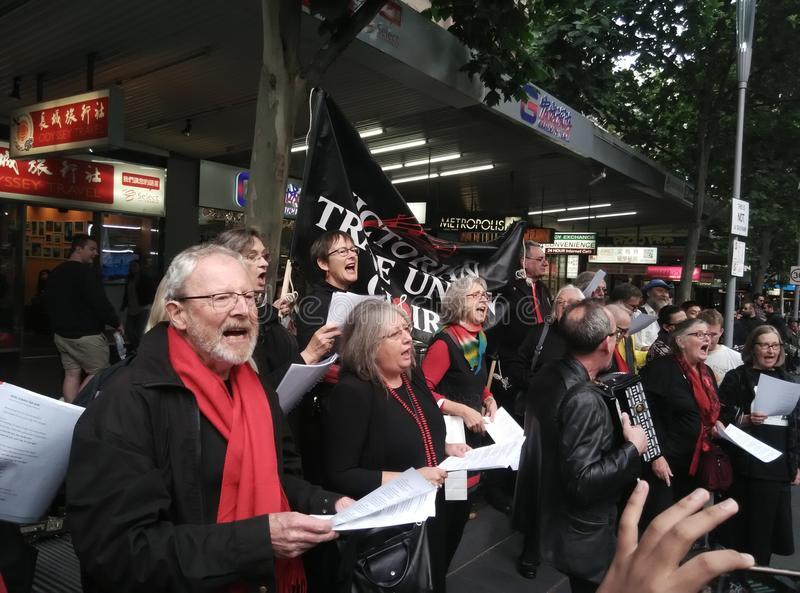 Singing choir. Singing senior choir at People`s Climate March, Melbourne, November 27th, 2015 royalty free stock image