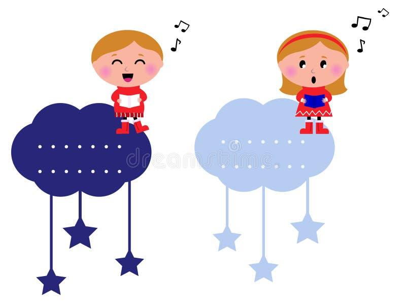 Singing Christmas Kids Tags Stock Image