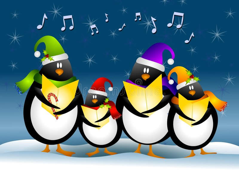 Singing Christmas Penguins. A clip art illustration of a cartoonish group of singing penguin Christmas Carolers dressed for the holidays and surrounded by