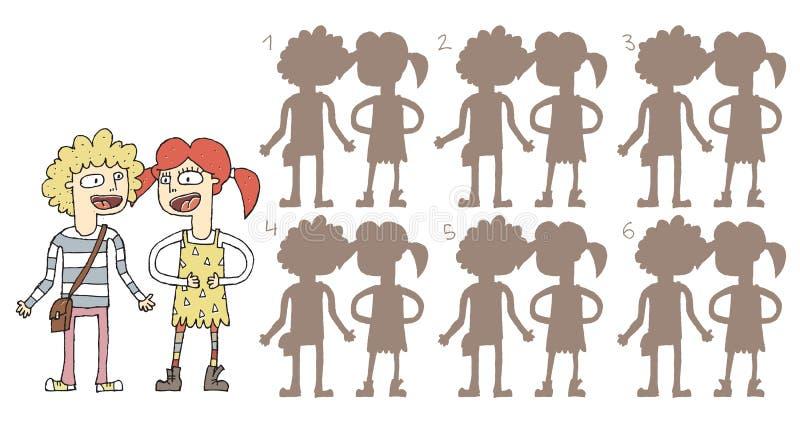 Singing Couple Shadows Visual Game vector illustration