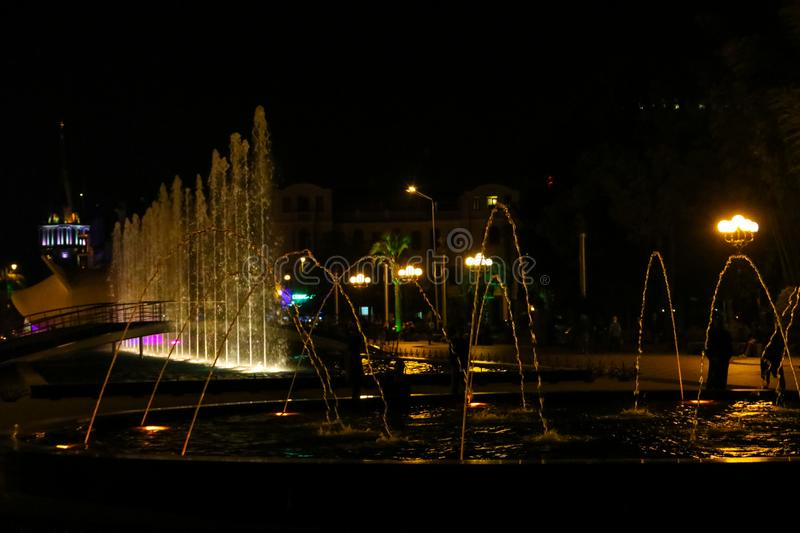 Singing and dancing fountains on Batumi boulevard royalty free stock image