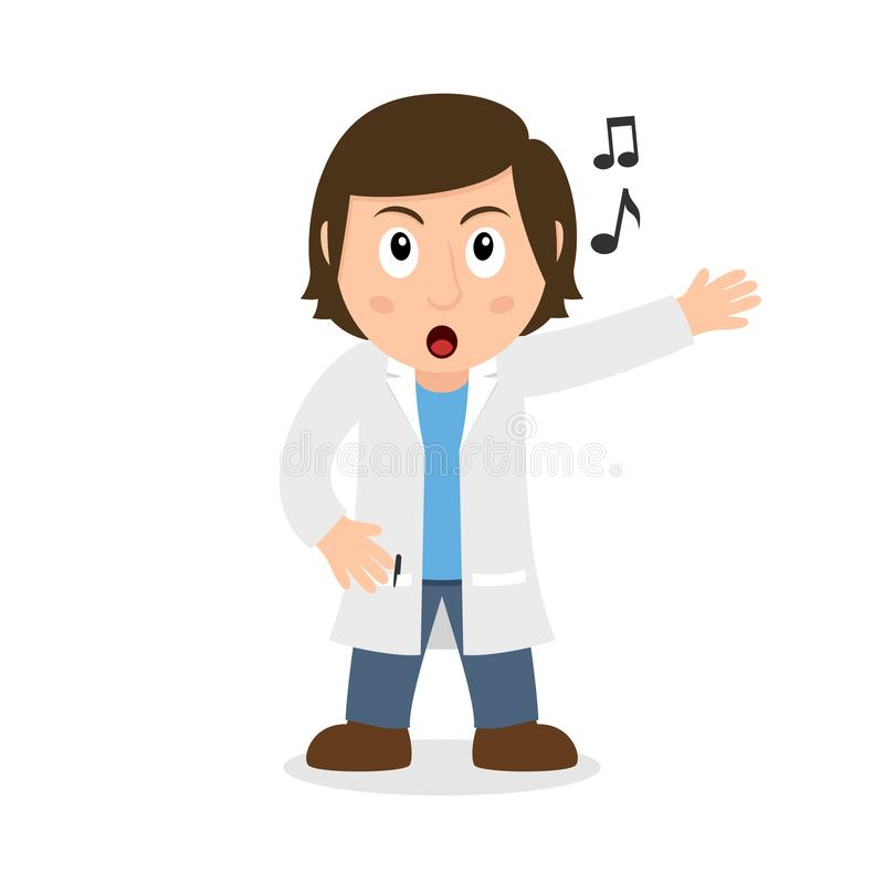 Singing Female Doctor Cartoon Character. Isolated on white background. Please check my portfolio for ten versions of the same character with different royalty free illustration