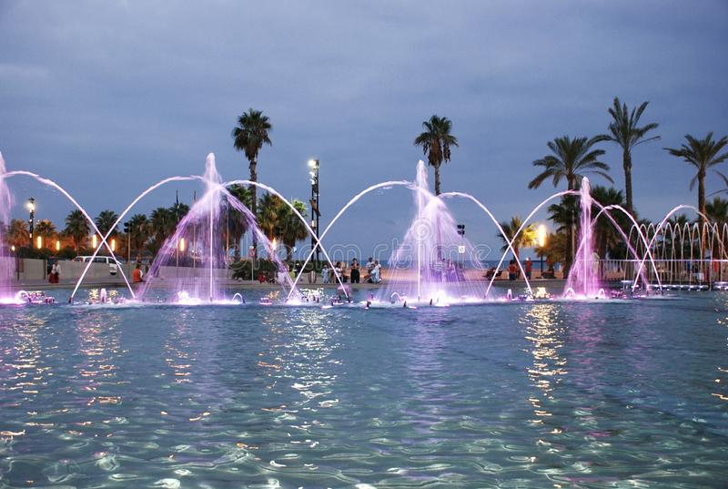 Singing fountain in Salou Spain. The singing fountains. One of the most interesting dostoprimechatelsty Salou Costa Dourada in Spain. The fountain changes the stock image