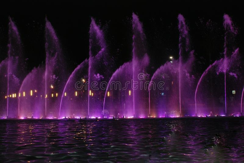 Singing fountain in Salou Spain. The singing fountains. One of the most interesting dostoprimechatelsty Salou Costa Dourada in Spain. The fountain changes the royalty free stock images