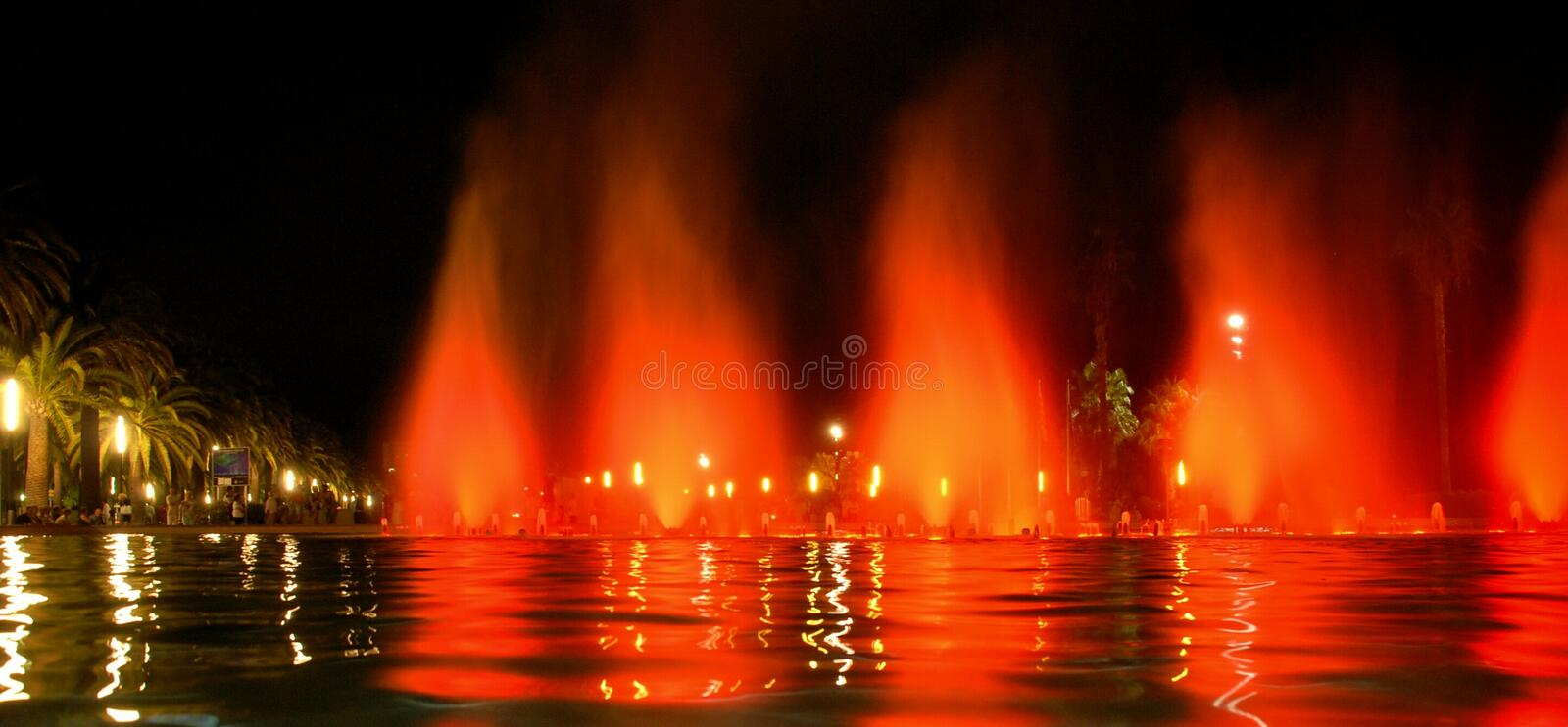 Singing fountain in Salou Spain. The singing fountains. One of the most interesting dostoprimechatelsty Salou Costa Dourada in Spain. The fountain changes the royalty free stock image