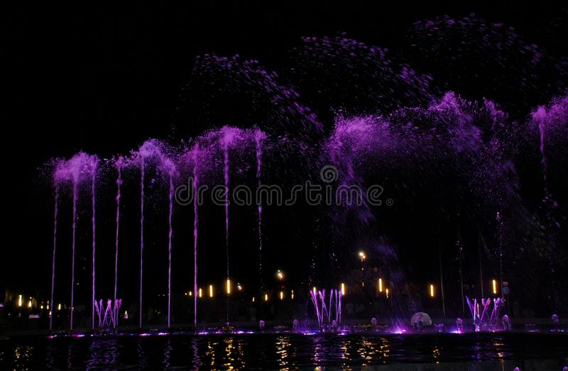 Singing fountain in Salou Spain. The singing fountains. One of the most interesting dostoprimechatelsty Salou Costa Dourada in Spain. The fountain changes the stock photos