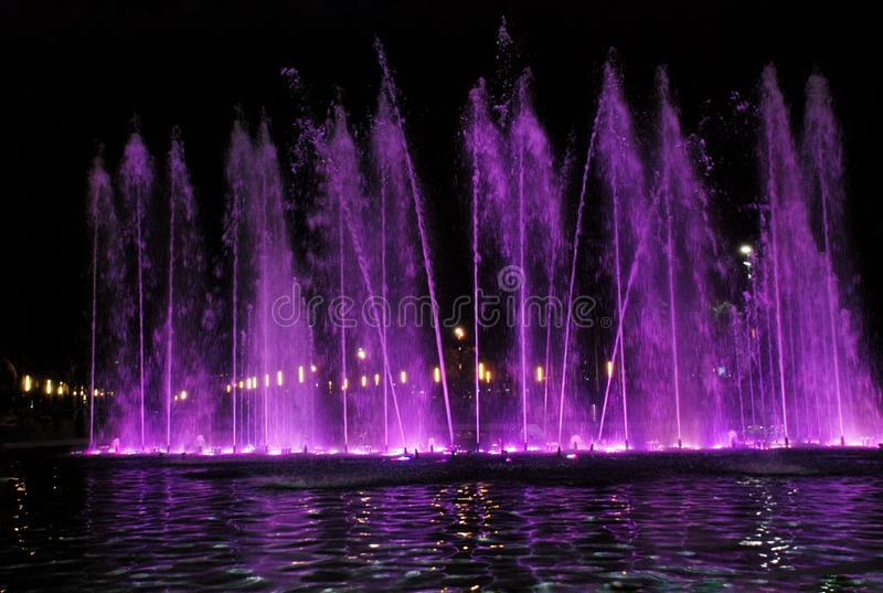 Singing fountain in Salou Spain. The singing fountains. One of the most interesting dostoprimechatelsty Salou Costa Dourada in Spain. The fountain changes the royalty free stock photo