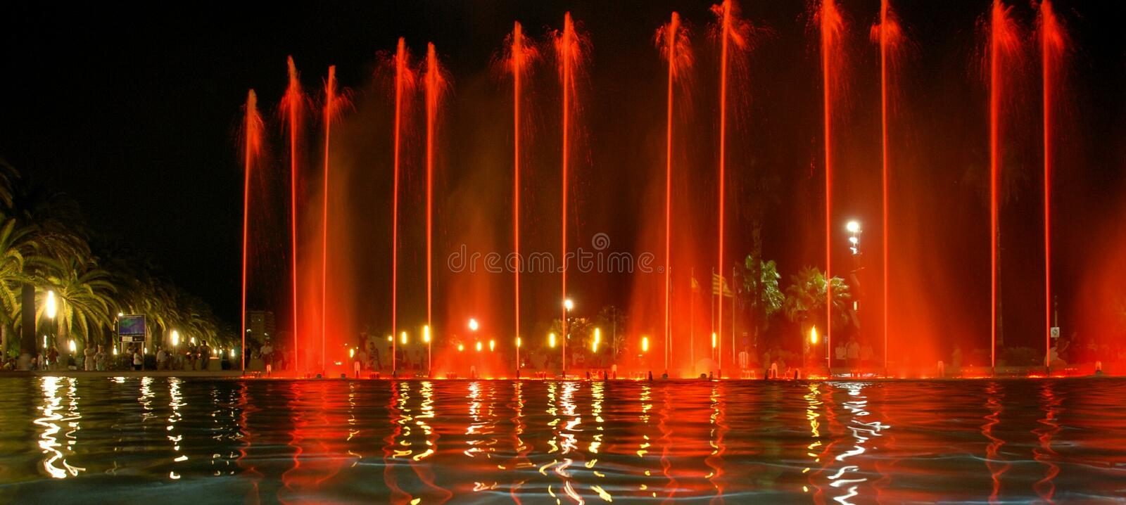 Singing fountain in Salou Spain. The singing fountains. One of the most interesting dostoprimechatelsty Salou Costa Dourada in Spain. The fountain changes the royalty free stock photography