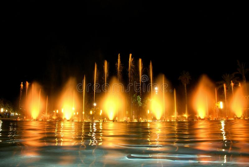 Singing fountain in Salou Spain. The singing fountains. One of the most interesting dostoprimechatelsty Salou Costa Dourada in Spain. The fountain changes the stock photography