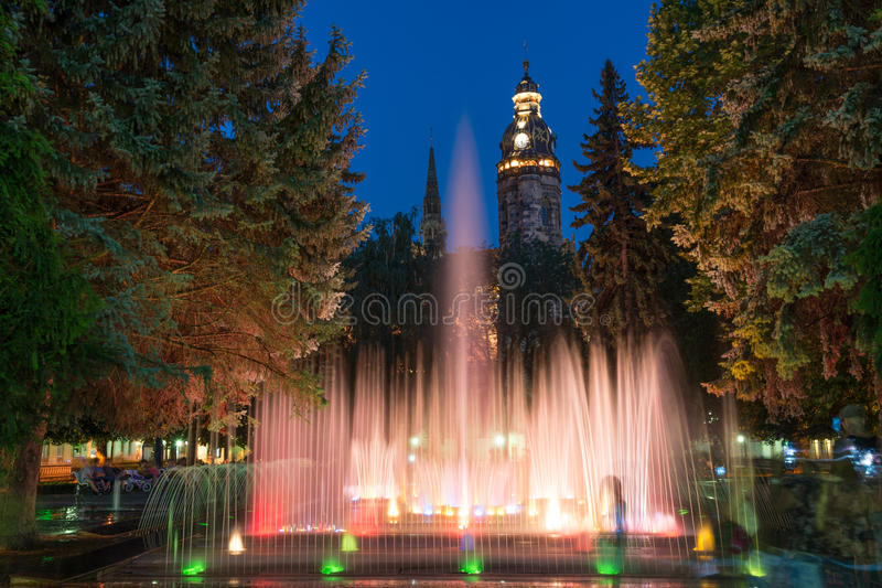 Singing fountains in Kosice stock images