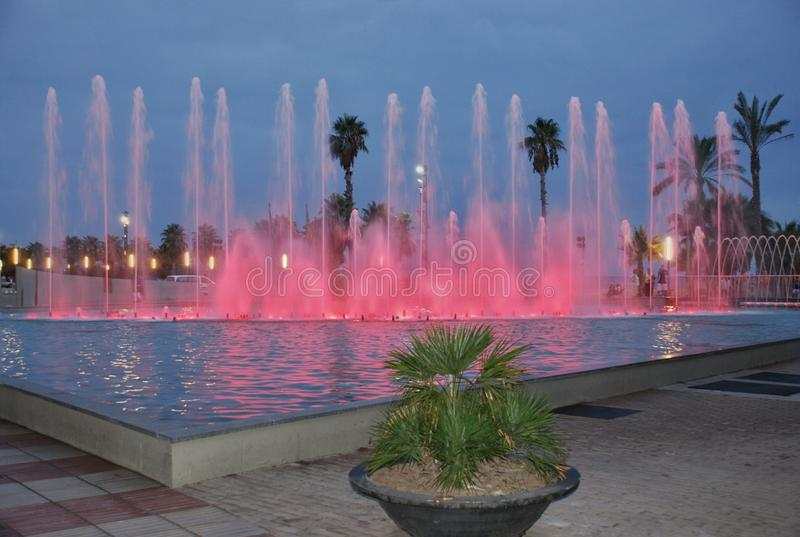 Singing fountains. The singing fountains. One of the most interesting dostoprimechatelsty Salou Costa Dourada in Spain. The fountain changes the colors and royalty free stock photos
