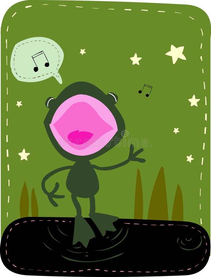 Download Singing Frog stock vector. Image of aquatic, color, music - 1137771