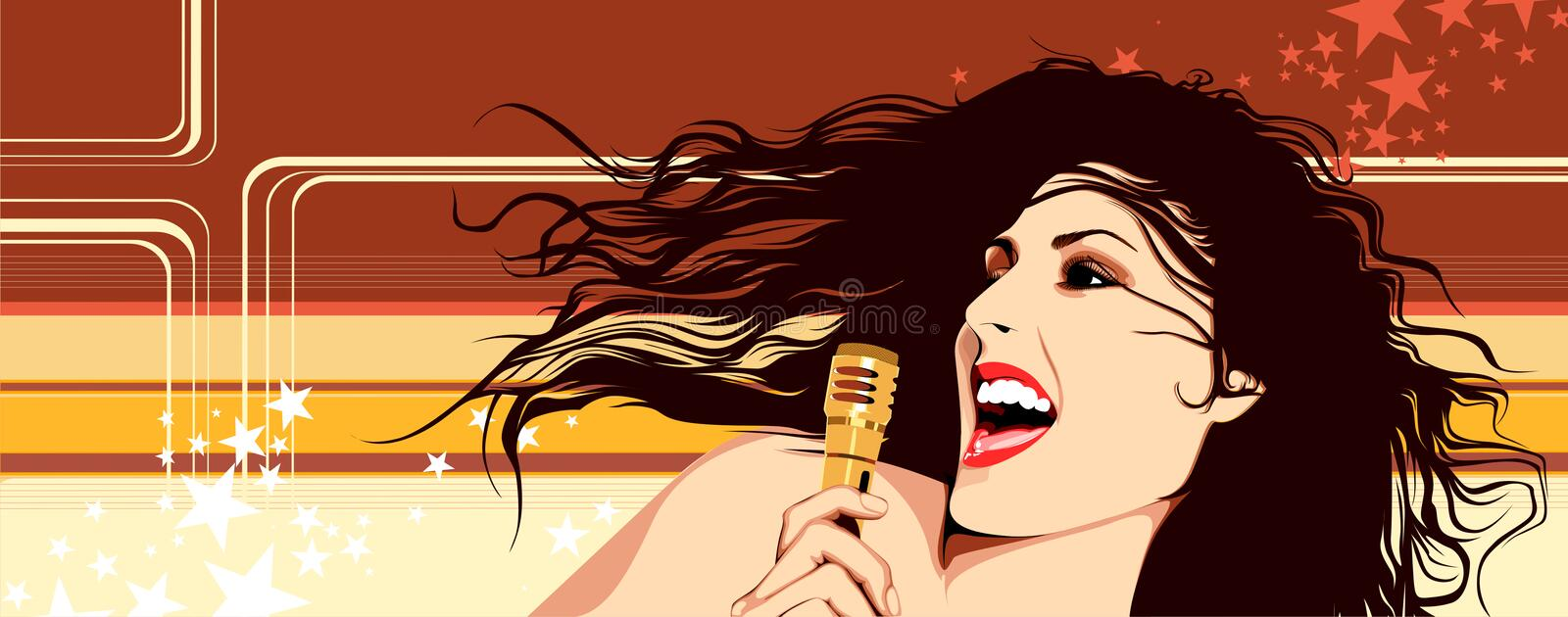 Singing Girl. With the microphone royalty free illustration