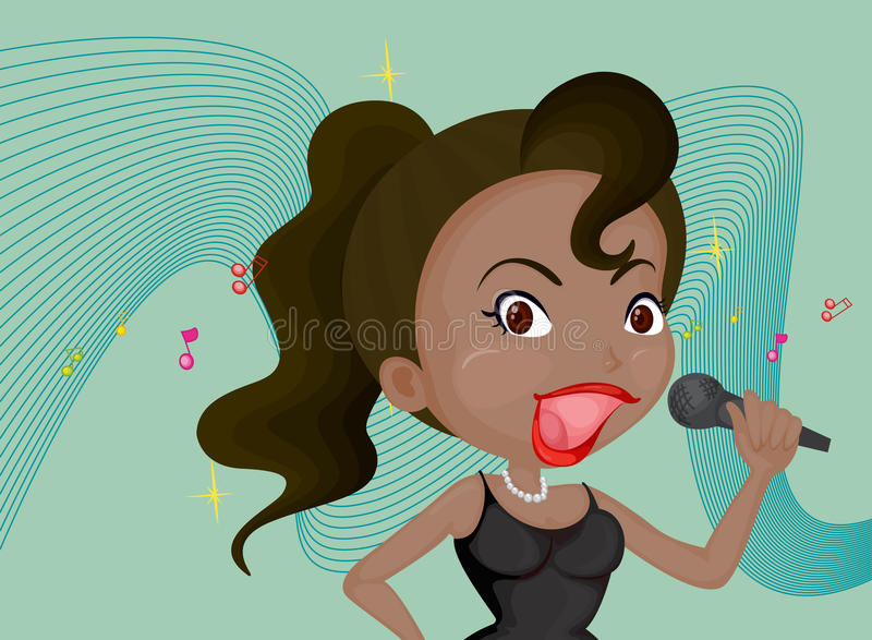 A Singing Girl. Illustration of a singing girl on colorful background stock illustration