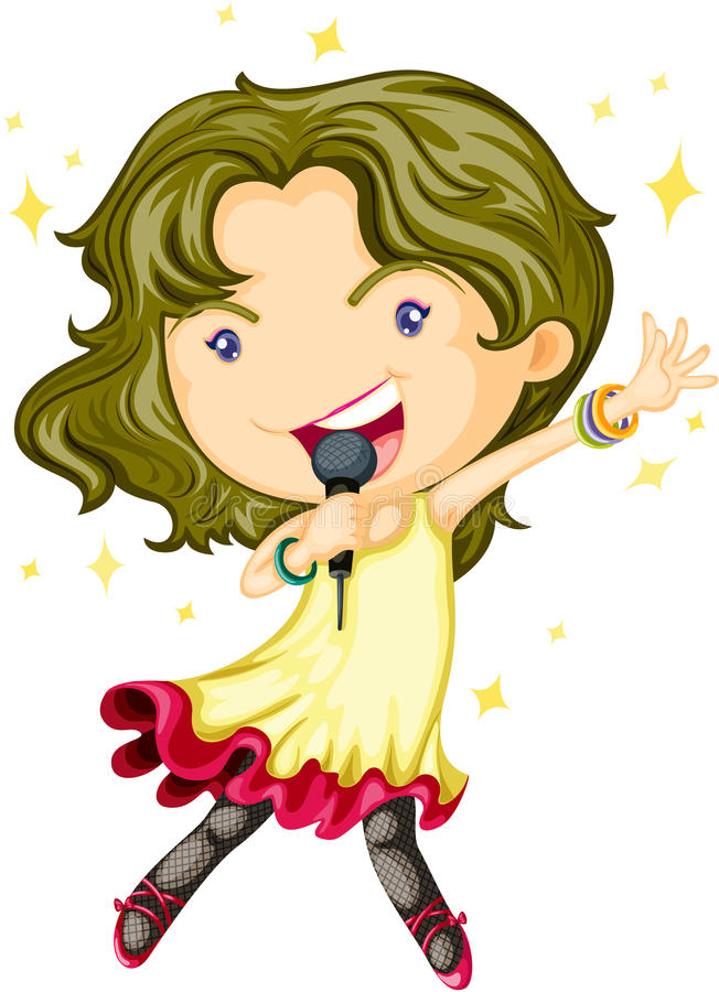 A Singing Girl. Illustration of A Singing Girl on white background vector illustration