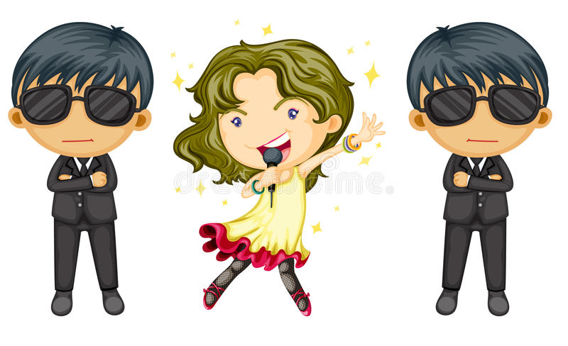 Singing girl. Girl singing with body guards on white royalty free illustration