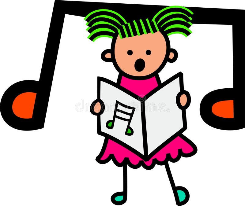 Singing Girl. A cartoon little stick girl singing singing from a sheet of music vector illustration