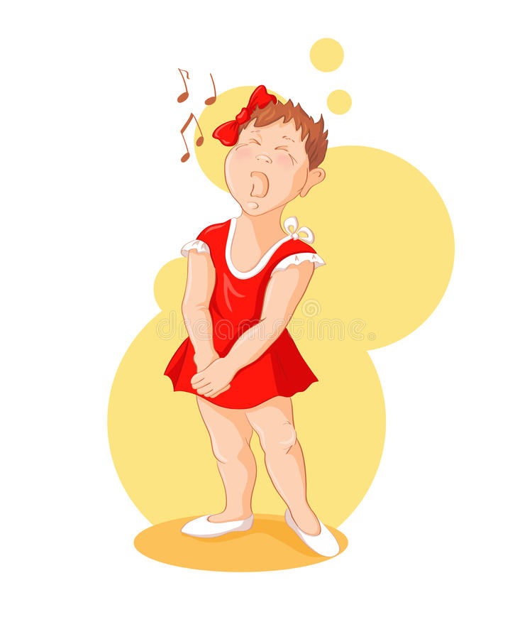 Singing girl. Funny cartoon little girl is singing. Vector illustration of a series Talented children royalty free illustration