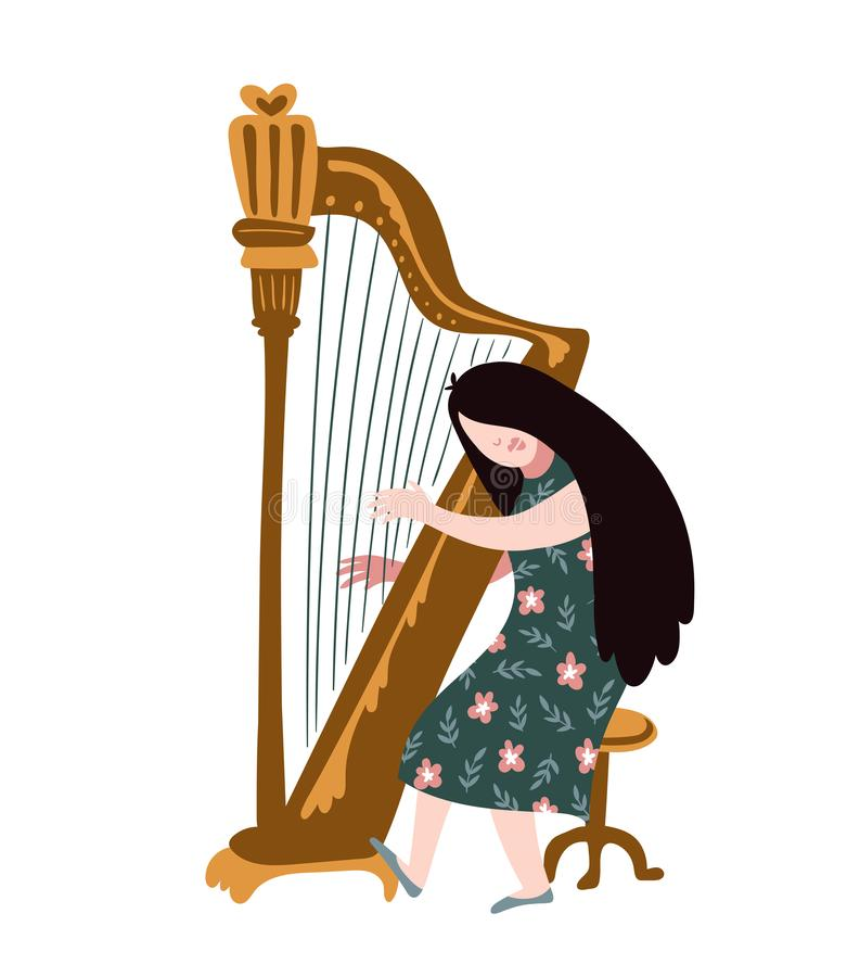 Singing girl with harp. Vector illustration for music festival. Bright poster. Singing girl with harp. Vector illustration for music festival. Bright poster royalty free illustration