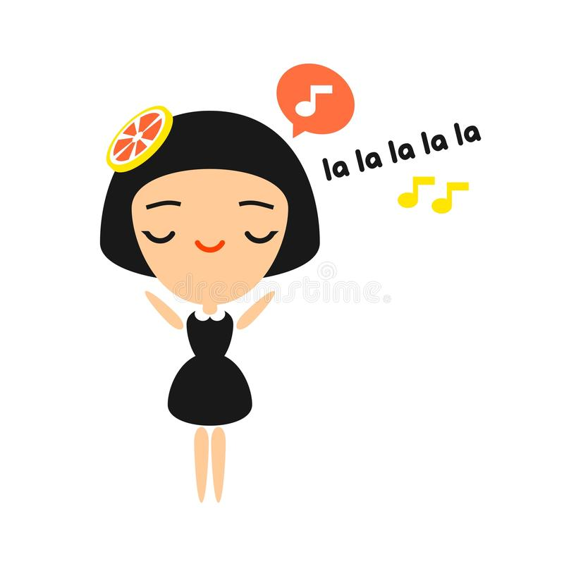 Singing girl. Illustration of a singing girl isolated on white background vector illustration