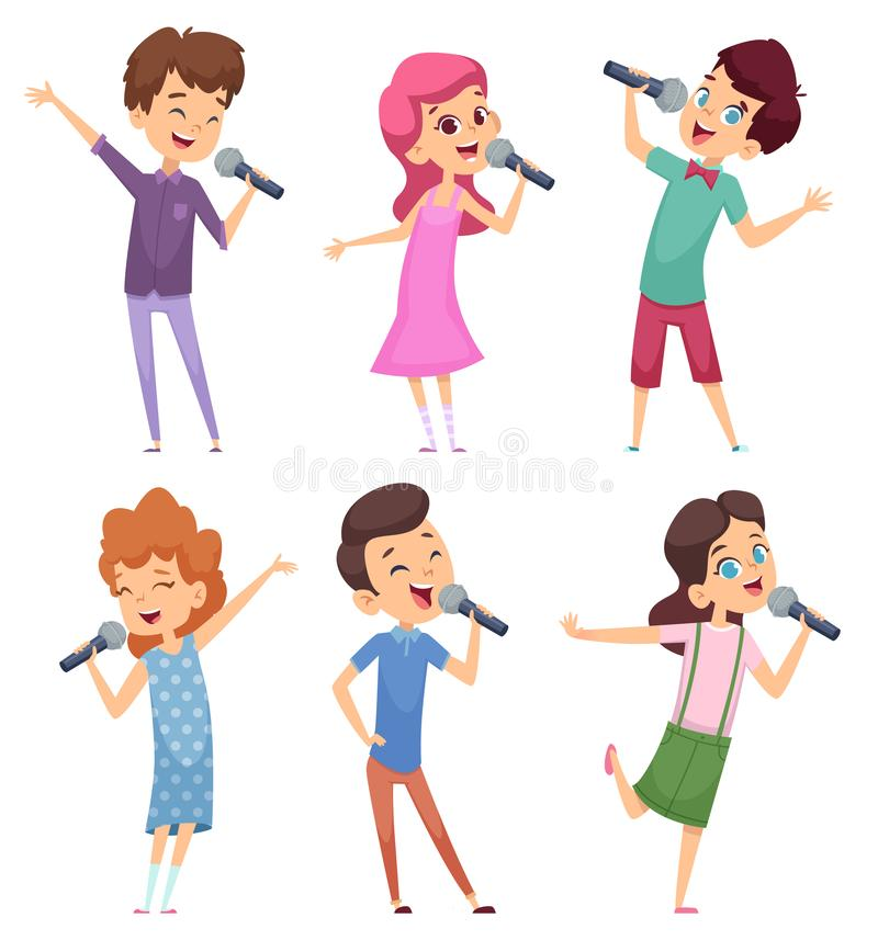 Singing kids. Happy cute childrens music voice study boys and girls standing with microphone vector characters stock illustration