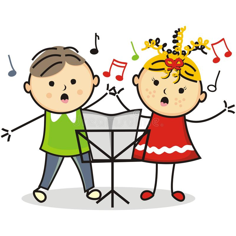 Singing kids and music stand royalty free illustration