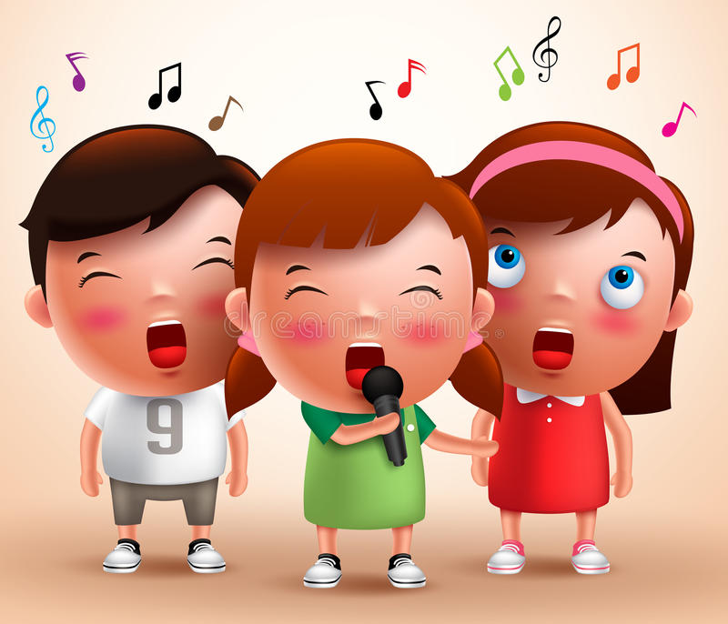 Singing kids vector characters holding microphone and performing. With flying notes in a background. Vector illustration stock illustration