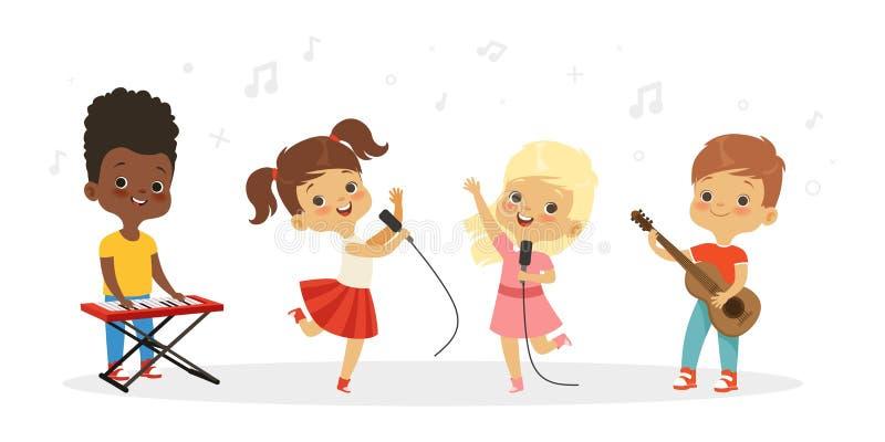 Singing kids. Vector cute children choir. Kids vocal group illustration royalty free illustration