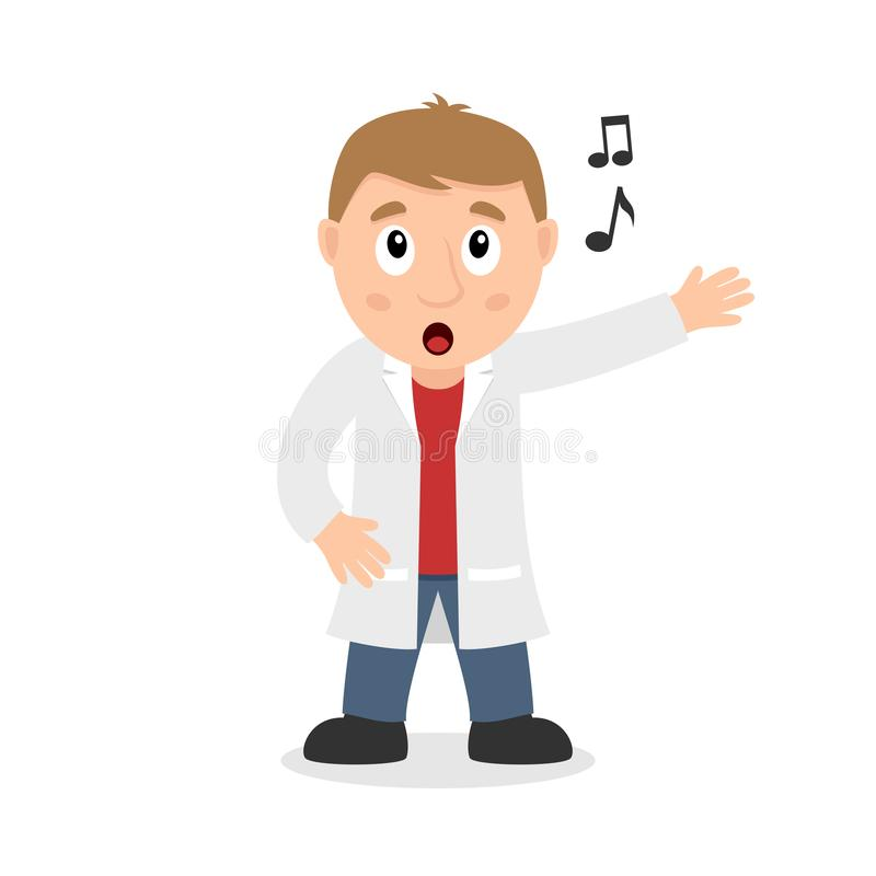 Singing Male Doctor Cartoon Character. Isolated on white background. Please check my portfolio for ten versions of the same character with different positions royalty free illustration