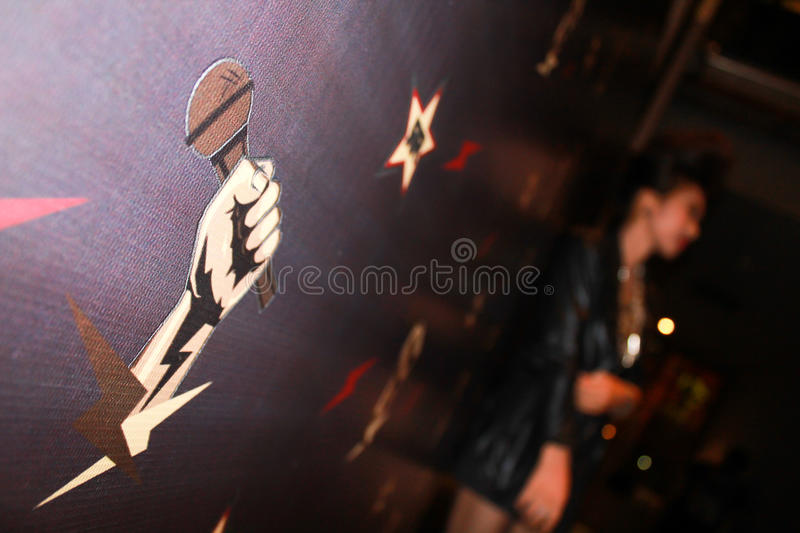Singing microphone background backdrop photo soft focus royalty free stock photo
