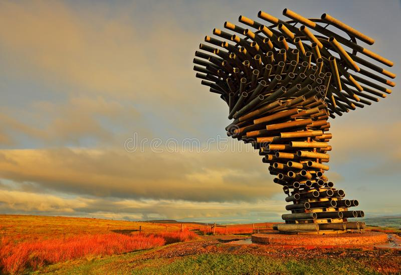 Singing Ringing Tree, Crown Point, Burnley. The early morning sun casts a warm glow on the Singing Ringing Tree panopticon that can be found at the top of Crown royalty free stock photo