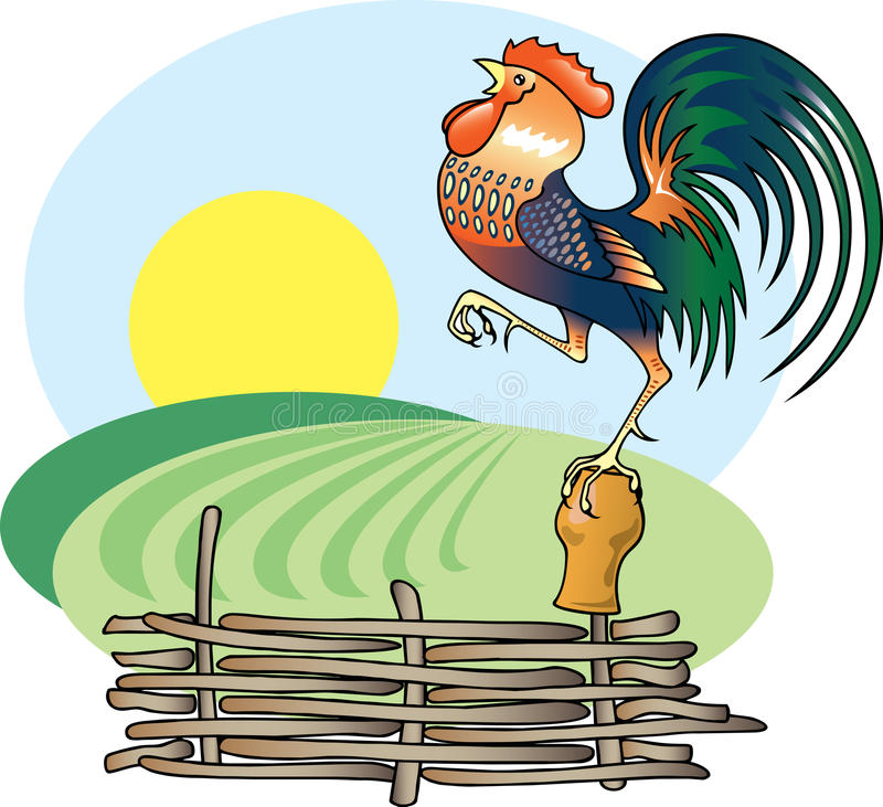 Singing Rooster and morning Sun. stock illustration