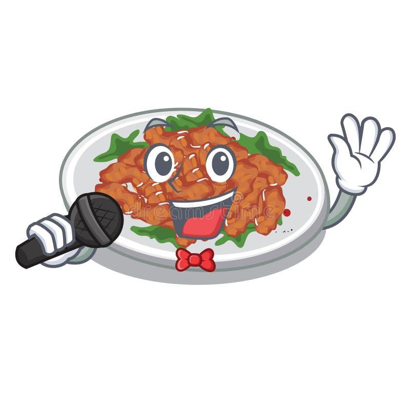 Singing sesame chicken in a cartoon bowl. Vector illustration royalty free illustration