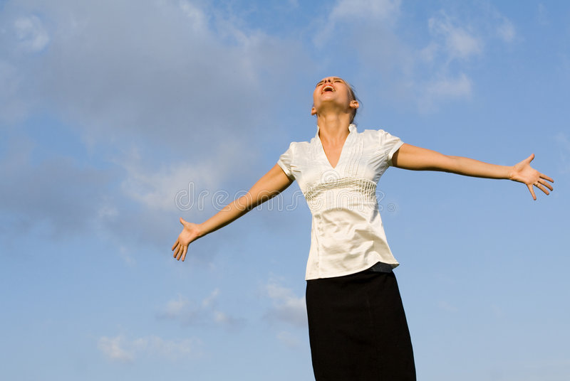 Singing or shouting with joy