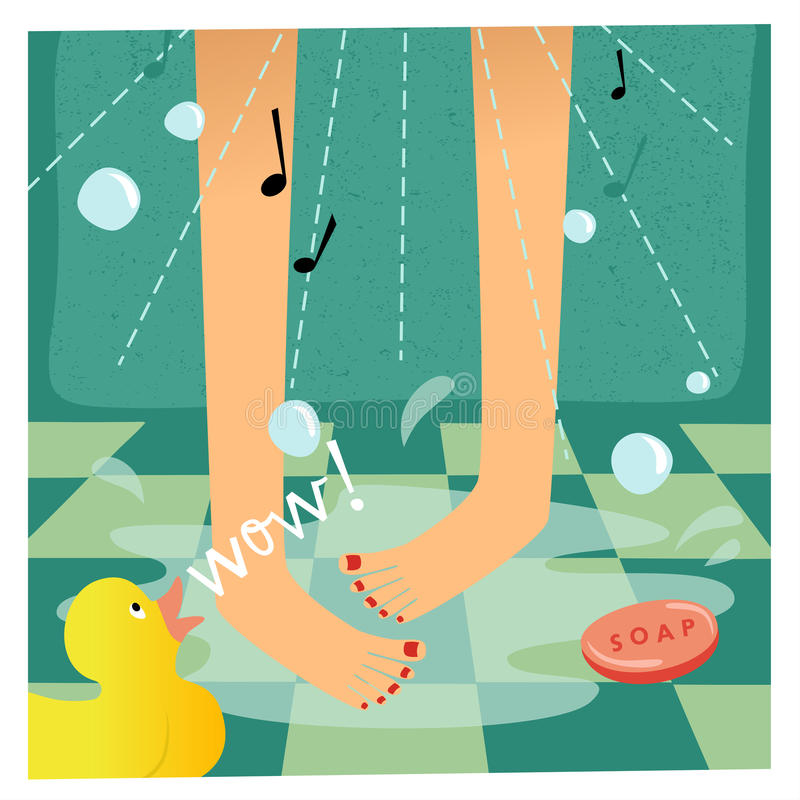 Singing in the shower. Happy woman taking a shower. AI8 compatibile vector file, Hires JPG included stock illustration